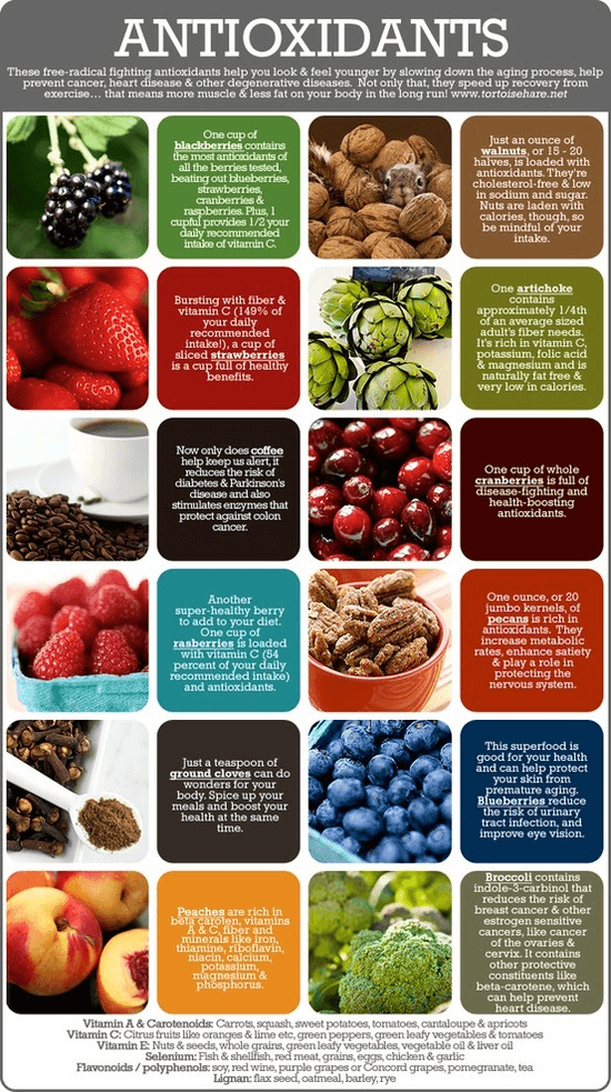 Antioxidants are nutrients (vitamins and minerals) as well as enzymes (proteins in your body that assist in chemical reactions). They are believed to play a role in preventing the development of chronic diseases.