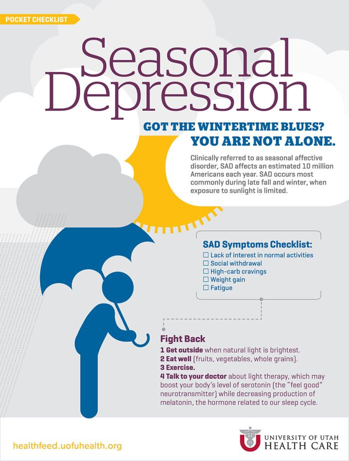 the symptoms and treatment for seasonal affective disorder Seasonal affective disorder (sad) is a type of depression that's related to changes in seasons and begins and ends at about the same times every year.