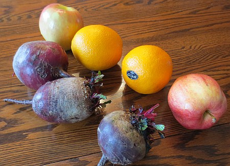 Apple, Oranges, and Beets, were todays great juice option