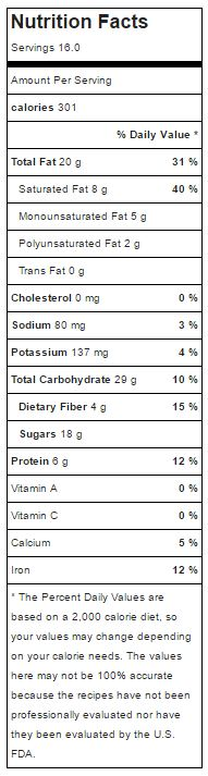 cashew coconut snack bar nutrition facts