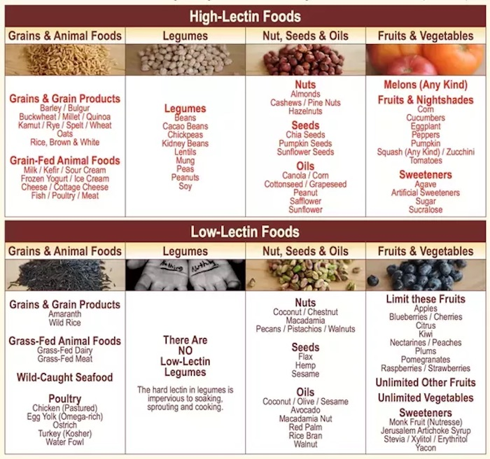 High Lectin foods as well as low lectin foods