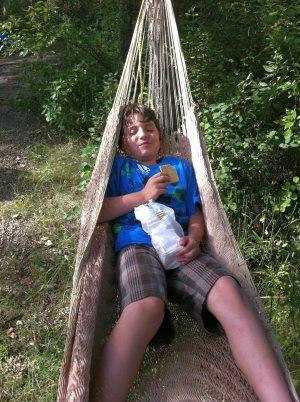 My son Jaiden hanging in a hammock